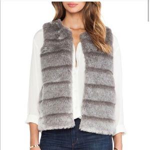 Joie Aundrina Faux Fur Gray Open Vest
